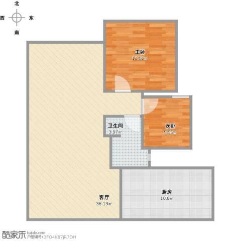 奥克斯盛世年华2室1厅1卫1厨91.00㎡户型图