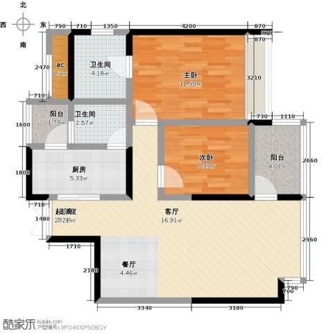 都城雅颂居2室0厅2卫1厨93.00㎡户型图