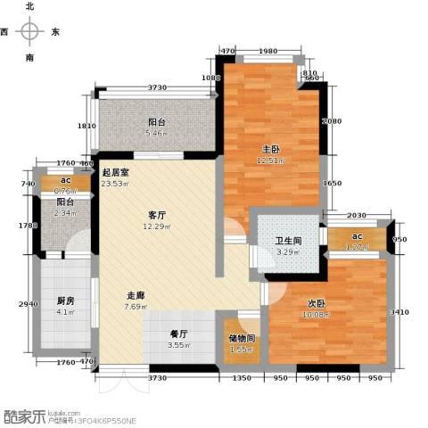 都城雅颂居2室0厅1卫1厨95.00㎡户型图