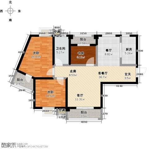 九坤翰林苑3室1厅1卫1厨105.00㎡户型图