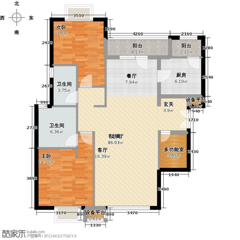 西安富力城110.00㎡经典户型 两室两厅两卫户型2室2厅2卫
