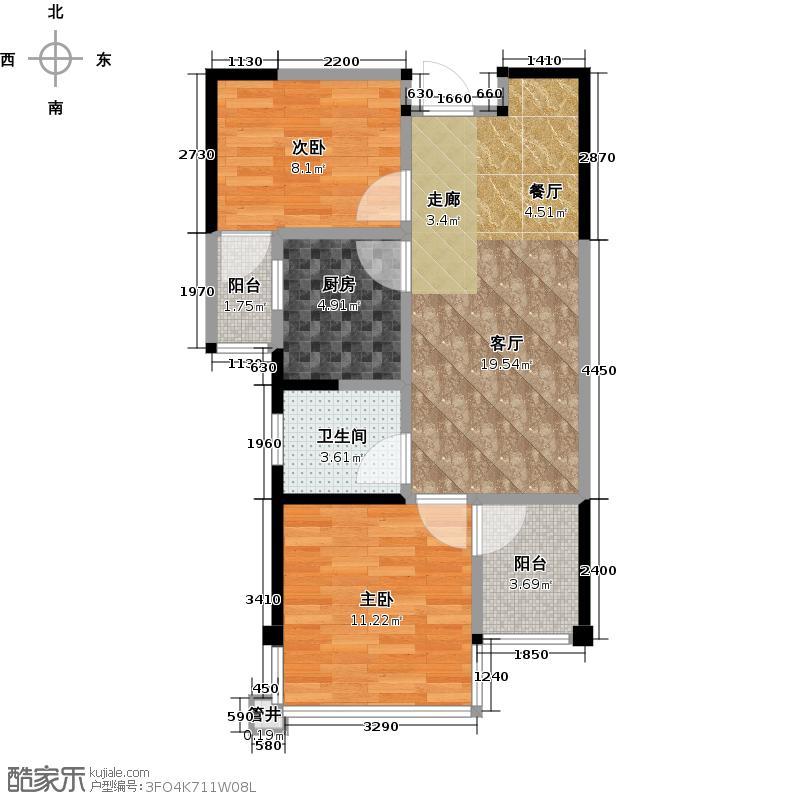 亚洲创意产业城梵谷森林30-40万元级 A4户型 2室2厅1厨1卫3阳台 约60㎡户型