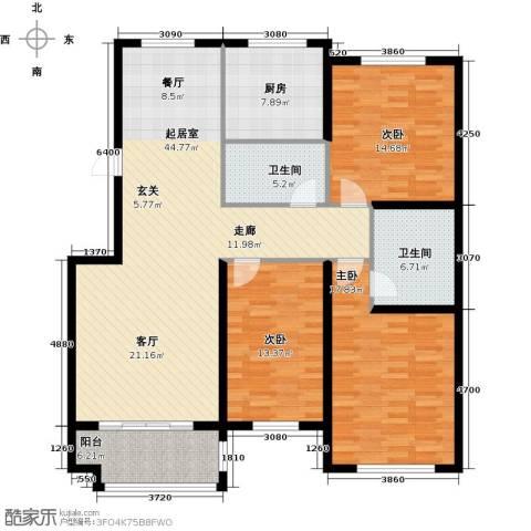 紫金湾3室0厅2卫1厨130.00㎡户型图