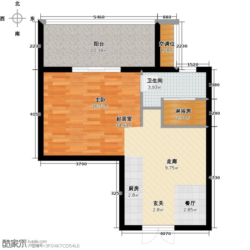 中城花桥国际60.00㎡公寓H户型1室1厅1卫1厨60.00平米户型1室1厅1卫