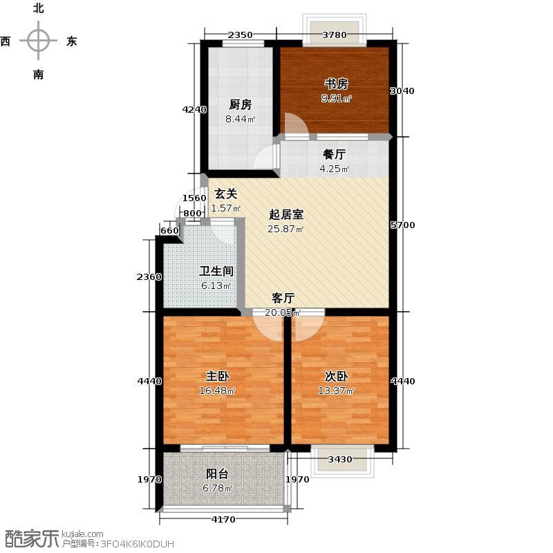 金都时代新城101.80㎡22# 三室两厅一卫户型3室2厅1卫