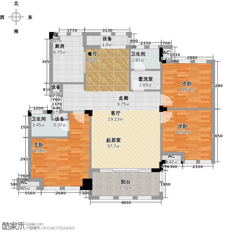 万城春天124.00㎡该户型实用于11号楼1单元01;3单元02户型3室2厅2卫