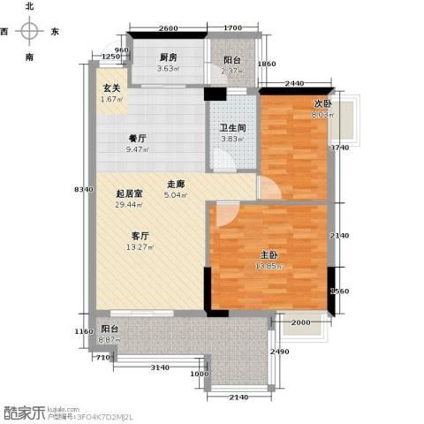 天重・山水华庭2室0厅1卫1厨99.00㎡户型图