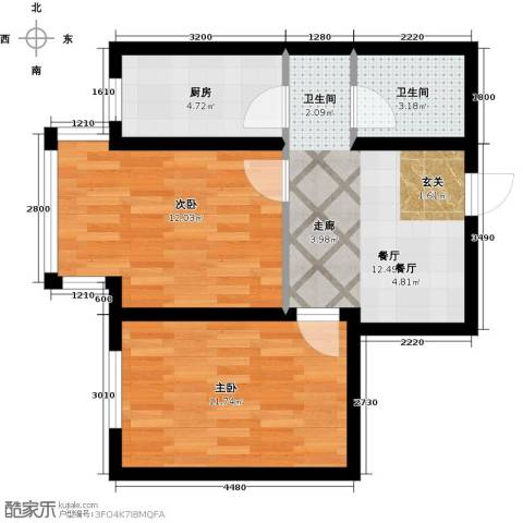 宜家观澜2室1厅1卫1厨64.00㎡户型图