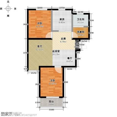 金桥澎湖山庄2室0厅1卫1厨82.00㎡户型图
