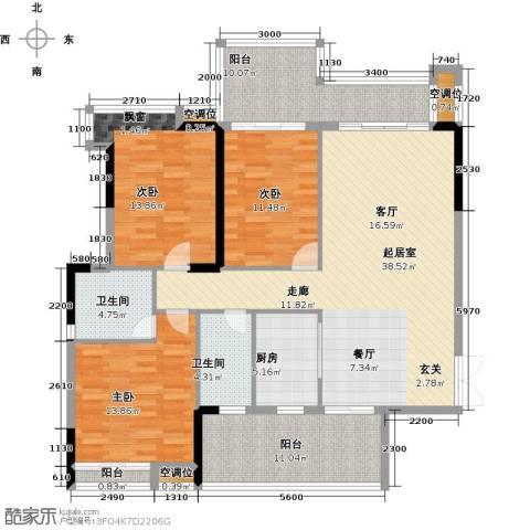 天重・山水华庭3室0厅2卫1厨164.00㎡户型图