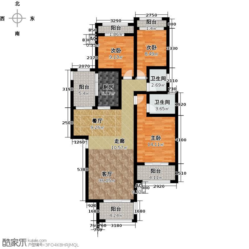 金侨城三期洋房三室二厅二卫户型3室2厅2卫