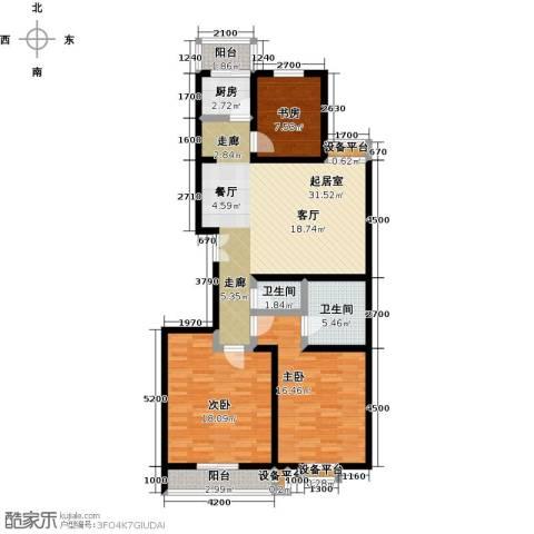 盛世长风二期3室0厅2卫1厨132.00㎡户型图