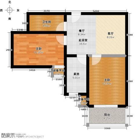 盛世长风二期2室0厅1卫1厨64.00㎡户型图