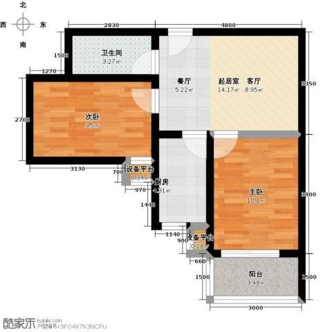 盛世长风二期2室0厅1卫1厨65.00㎡户型图