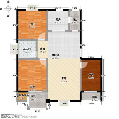 名人国际3室0厅1卫1厨114.00㎡户型图