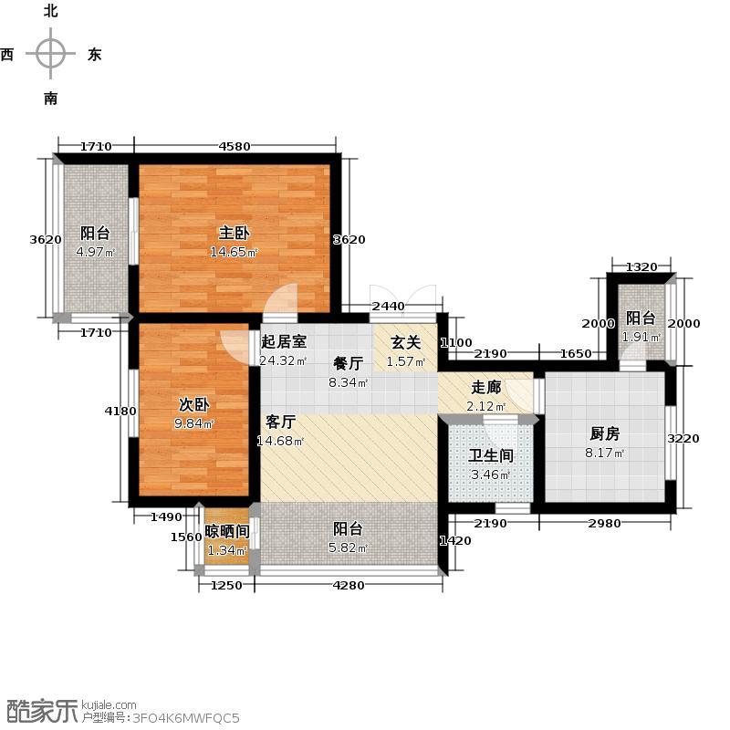 """哈尔滨提拉米苏67.15㎡""""可可""""户型 2室1厅1卫户型2室1厅1卫"""