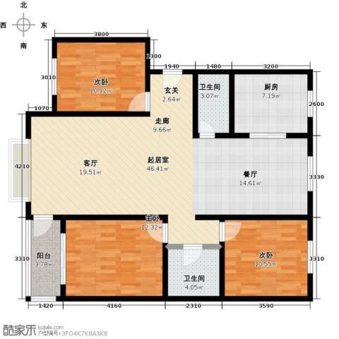 雪峰花园3室0厅2卫1厨134.00㎡户型图