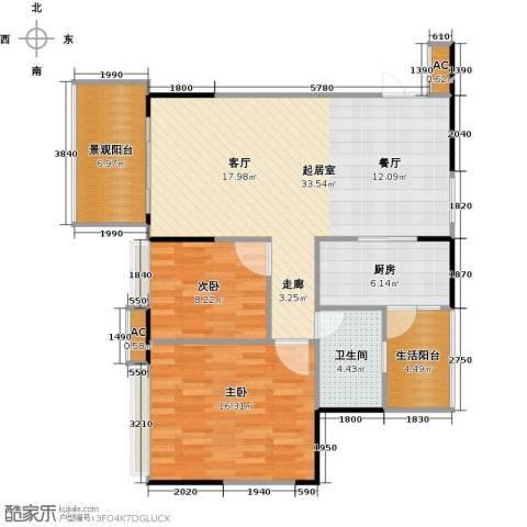 花海湾2室0厅1卫1厨88.00㎡户型图