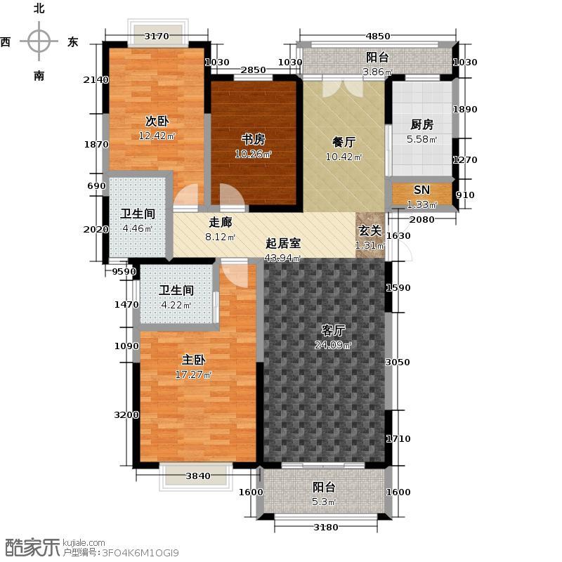 莱茵小镇136.50㎡T3户型 三室两厅两卫户型3室2厅2卫