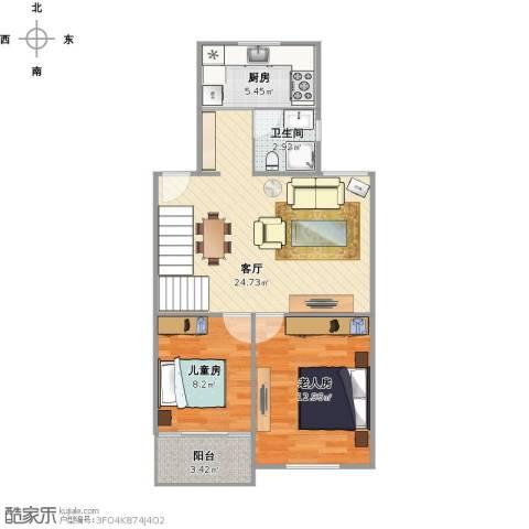 三塘桂园2室1厅1卫1厨77.00㎡户型图