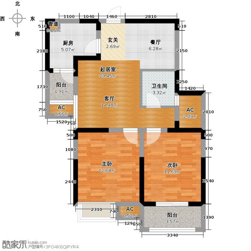 金悦兰亭B3户型2室2厅1卫