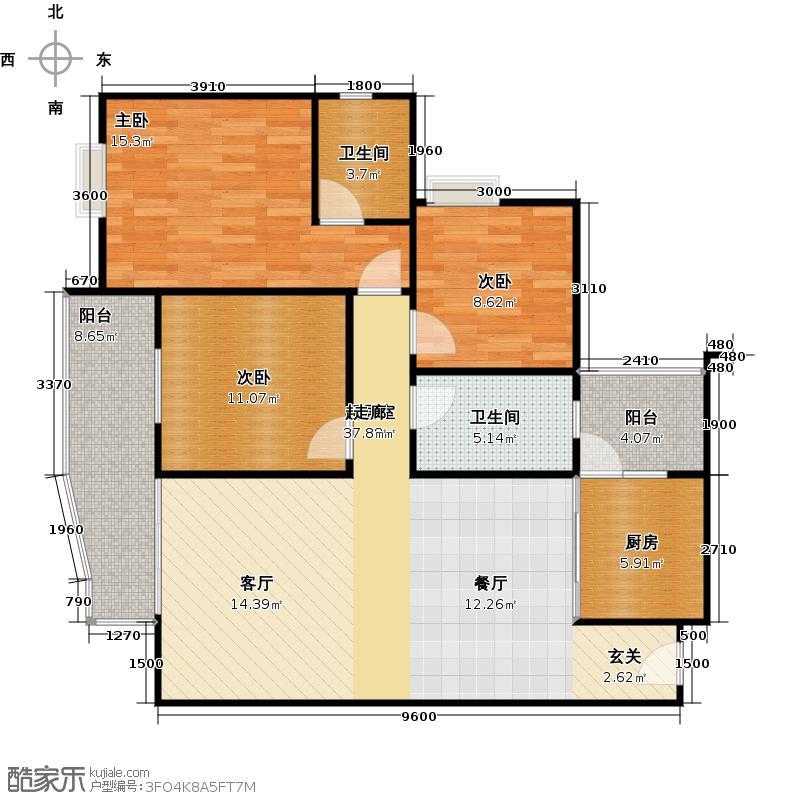 水岸新城114.37㎡A3户型:3房2厅2卫户型