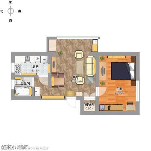 晶波坊1室1厅1卫1厨49.65㎡户型图
