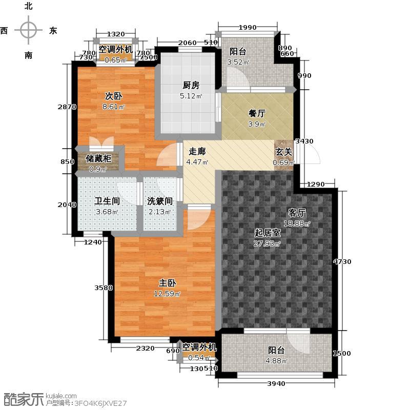 莱茵小镇90.00㎡两室两厅一卫户型