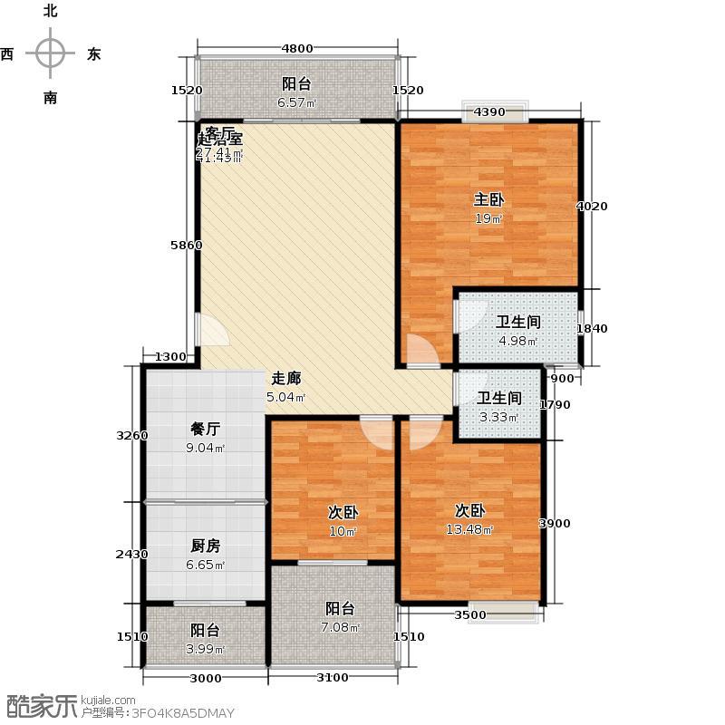 水岸新城3房2厅2卫(E1)户型