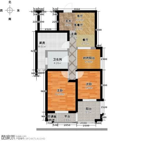 天山・水榭花都2室1厅1卫1厨80.00㎡户型图