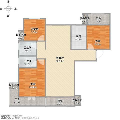 力高阳光海岸3室1厅2卫1厨135.00㎡户型图