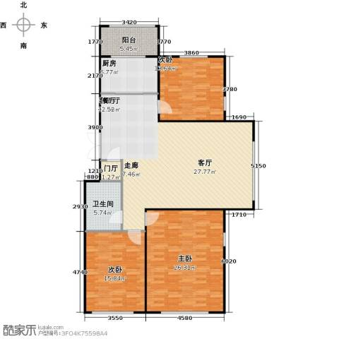 新阳绿洲春城3室1厅1卫1厨163.00㎡户型图