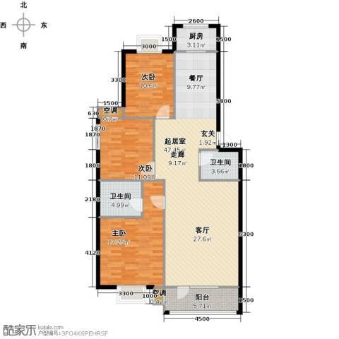 金泰丝路花城(四期)3室0厅2卫1厨144.00㎡户型图