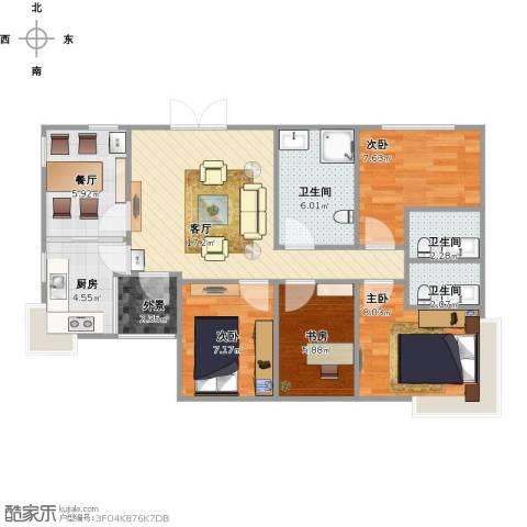 香格里拉花园四期国际广场4室2厅3卫1厨95.00㎡户型图