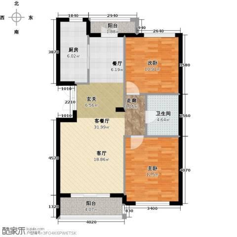 浦江国际2室1厅1卫1厨72.02㎡户型图