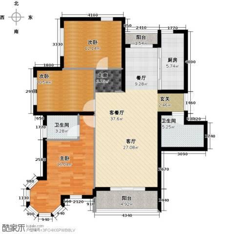 浦江国际3室1厅2卫1厨98.00㎡户型图