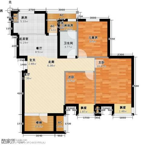 大连天地・悦翠台3室0厅1卫1厨123.00㎡户型图