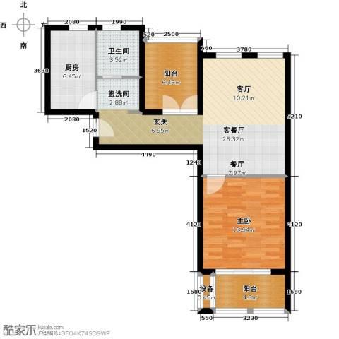 太湖普罗旺斯1室1厅1卫1厨71.00㎡户型图