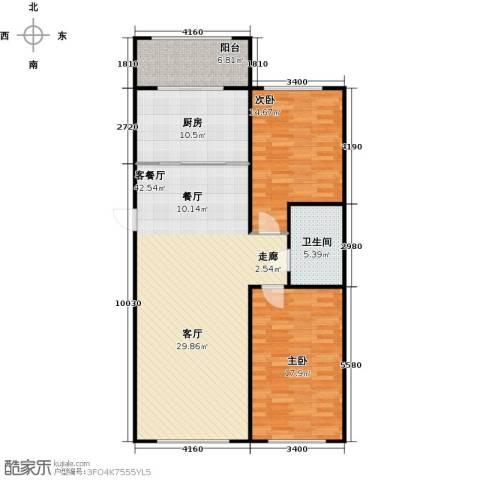 新阳绿洲春城2室1厅1卫1厨130.00㎡户型图