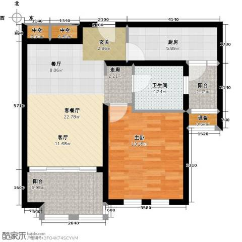 太湖普罗旺斯1室1厅1卫1厨66.00㎡户型图