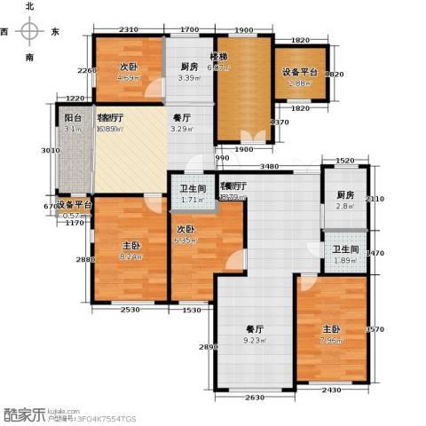 新阳绿洲春城4室2厅2卫2厨108.00㎡户型图