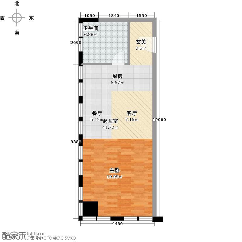 太古城54.00㎡J户型54-92平米户型1室1厅1卫