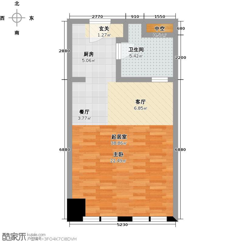 太古城51.00㎡B4户型51-54平米户型1室1厅1卫