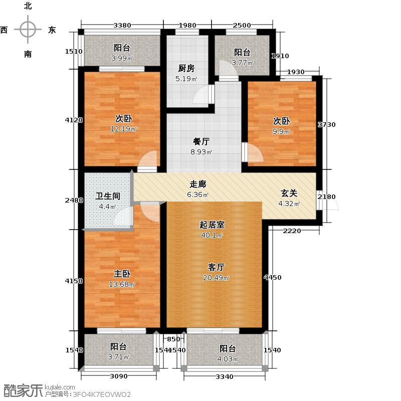 顺平水木清华124.12㎡三室两厅两卫户型3室2厅2卫