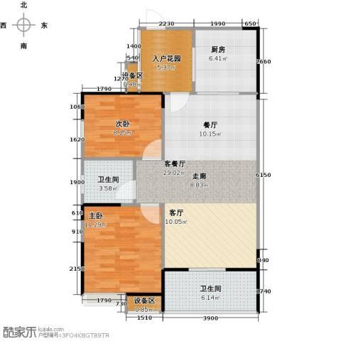 融科檀香山(ING组团)2室1厅2卫1厨88.00㎡户型图