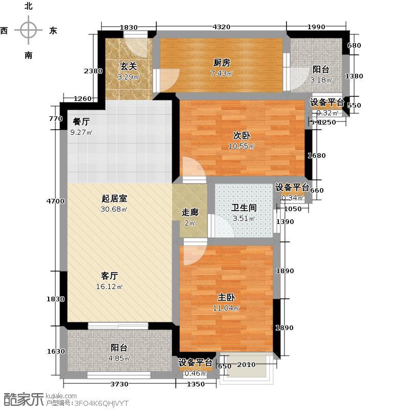 泉山湖85.00㎡联华泉山湖兰乔公馆户型2室2厅1卫