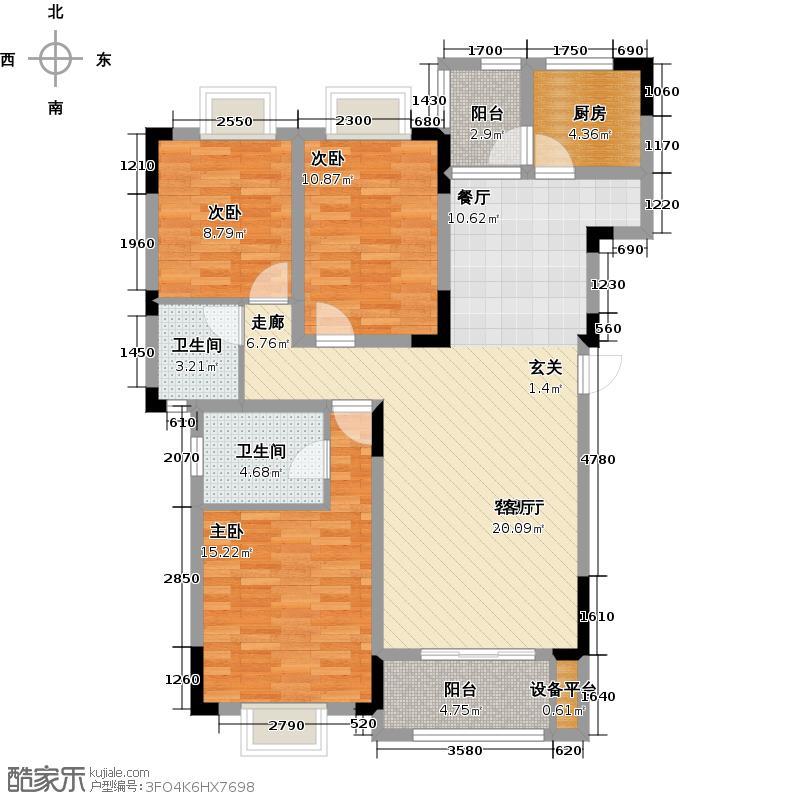 新城壹号120.12㎡三房两厅户型