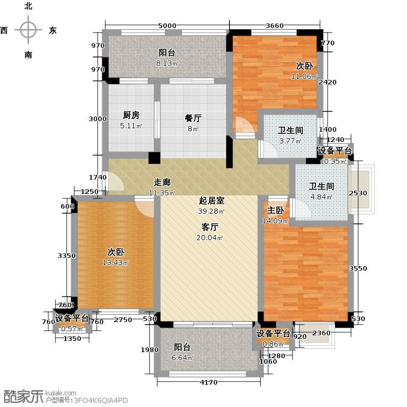 泉山湖126.00㎡多层L2-A 三室二厅二卫 126平方户型3室2厅2卫