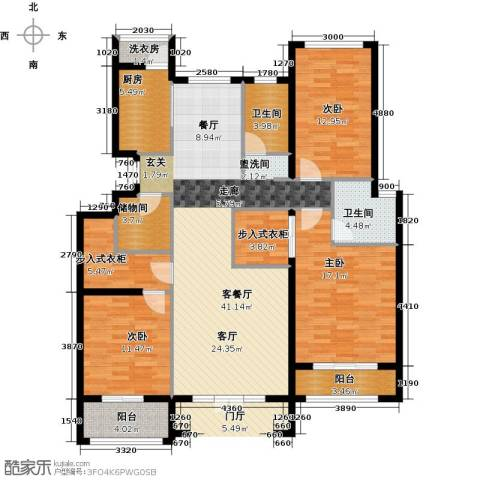 浦江国际3室1厅2卫1厨122.00㎡户型图