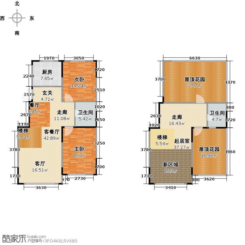 绿厦爵仕汇92.00㎡M1户型十一层+阁楼 2室2厅1卫户型